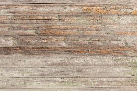 Horizontal closeup of old wooden plank wall, brown wooden background, fence or floor panels. Wooden texture background and wallpaper