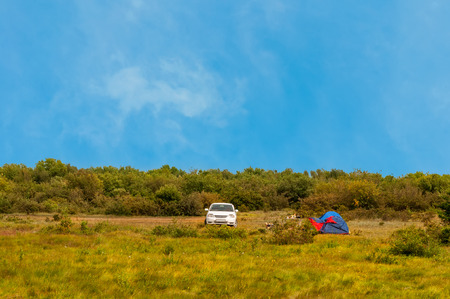 camping site: Car and tent outdoors in camping site