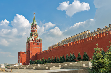 The Spasskaya Tower on red square  in Moscow photo