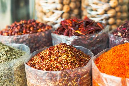 dubai: Dried herbs, flowers , spices in the souk at Deira in Dubai Stock Photo