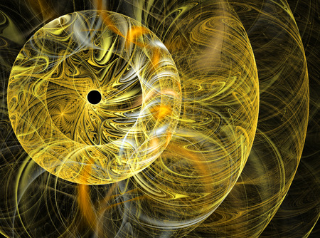 rounds: Abstract fractal yellow rounds computer-generated image Stock Photo