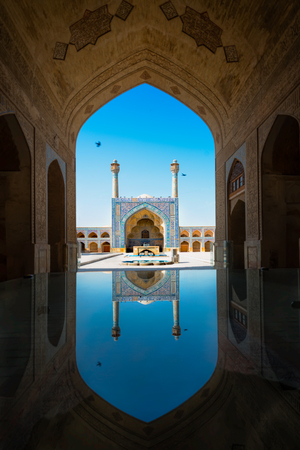 Imam Mosque  in Isfahan, Iran. Imam Mosque in standing in south side of Imam Square  and regarded as one of the masterpieces of Persian architecture. Standard-Bild