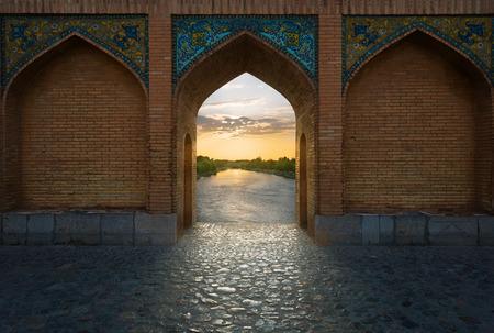 Khaju Bridge is a bridge in the province of Isfahan, Iran. Stock Photo