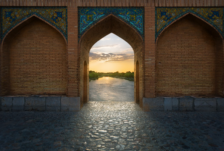 man made structure: Khaju Bridge is a bridge in the province of Isfahan, Iran. Stock Photo