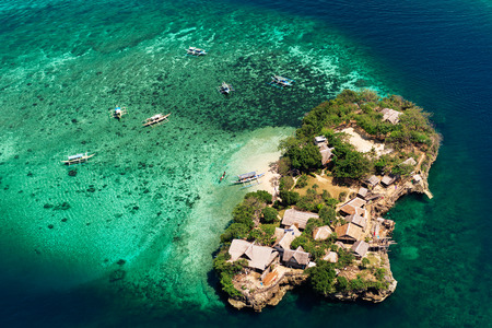 Aerial view of beautiful bay in tropical Islands with very white sand. Boracay Island, Philippines.