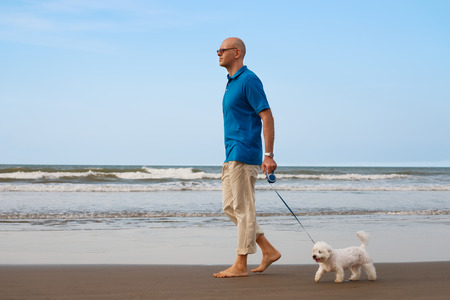 Owner walking with maltese dog on the beach
