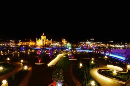 Night view of Bandar Seri Begawan, Brunei, Asia 写真素材
