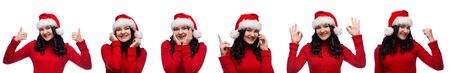set of smiling brunette woman in christmas santa hat showing different kind of gestures isolated over white background