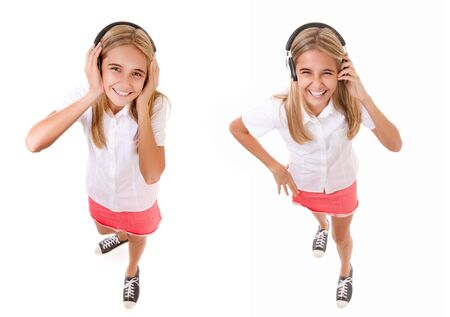 music and technology concept - set of fun high angle full length portrait of lovely girl with headphones looks at the camera isolated Фото со стока