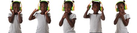 childhood and people concept - set of african little emotional girl with headphones isolated over white background