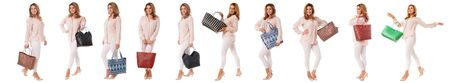 set of pretty woman with different kind of bags in full length isolated over white background