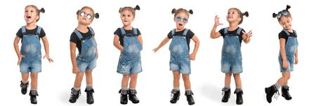 childhood and people concept - set of stylish little girl wearing denim in full length isolated over white background