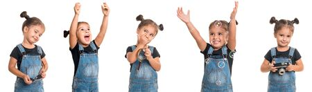 childhood and people concept - set of stylish emotional little girl wearing denim isolated over white background