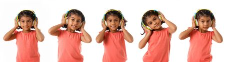 music and technology concept - set of lovely little girl with headphone listening music isolated over white background