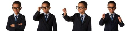 childhood and people concept- set of elegant little boy with glasses in business suit. Studio shot. Isolated