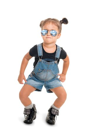Cute,funny  and stilish baby girl  with sunglasses .Isolated
