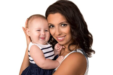 Happy mother with cute baby girl  isolated
