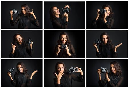 Collage of brunette woman expressing different emotions with vintage camera against dark background