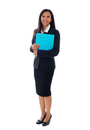 Full length of asian young business woman standing with her clipboard isolated on white background Standard-Bild