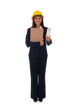 Full length of asian smiling woman architect holding blueprints and clipboard. Isolated portrait of woman engineer Standard-Bild