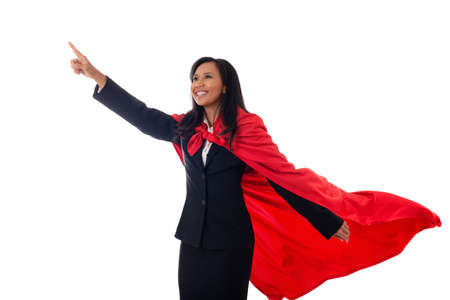 Portrait of cheerful businesswoman dressed as superhero pointing finger up isolated on white background