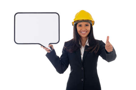 Portrait of asian smiling woman architect holding white board and showing thumbs up gesture. Isolated portrait of woman engineer