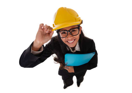Full length of happy asian smiling woman architect in eyeglasses holding blue folder. Fun high angle view. Isolated portrait of woman engineer