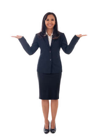 full length portrait of beautiful asian business woman hold two open palms,making presentation, isolated on white background
