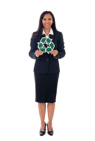 environment, eco living and people concept - full length of mixed race asian/caucasian business woman showing green recycling sign, isolated over white background