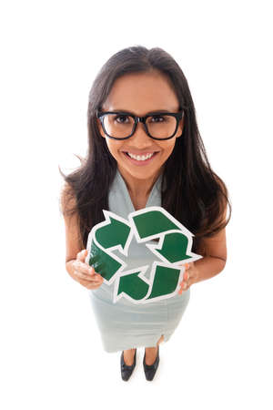 environment, eco living and people concept - full length of mixed race asian/caucasian woman in glasses showing green recycling sign, isolated over white background. Fun high angle view Standard-Bild