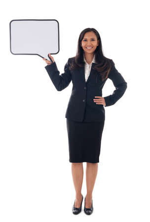 full length of mixed race asian/caucasian business woman holding white board with copy space for text, isolated over white background Standard-Bild