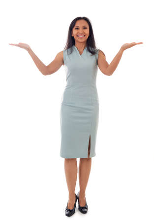 full length portrait of beautiful mixed race asian/caucasian woman hold two open palms,making presentation, isolated on white background Standard-Bild
