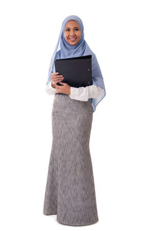 young happy asian Muslim woman wearing hijab holding folder with documents isolated white background