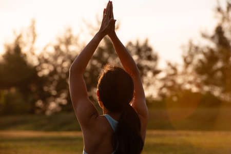 Concept of healthy lifestyle and relaxation-close up back view of attractive girl in sportswear raising her arms up in namaste outdoor on sunset. Standard-Bild