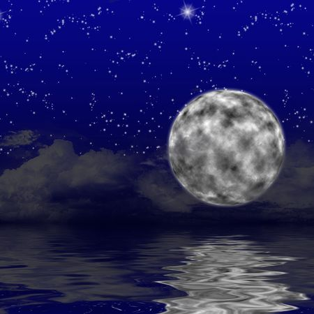 stormcloud: The Moon on the sky with stars and clouds Stock Photo