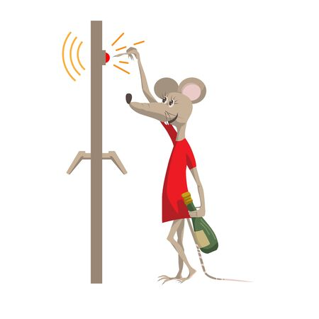 Funny mouse with a bottle of champagne rings the doorbell. The symbol of the New Year 2020. Cartoon character in a flat style vector illustration.