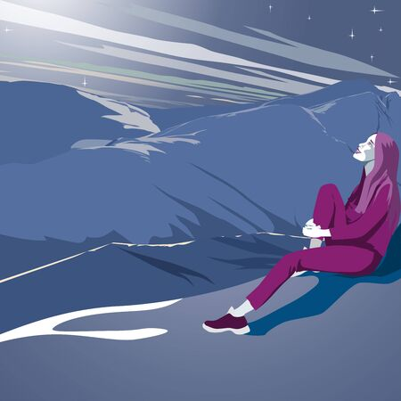 Girl tourist sitting on a mountainside and looking at the starry sky. Cartoon character flat style vector illustration.
