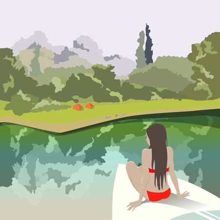 Girl on a boat sailing up to camping in the forest on the lake. Tourist camp in the meadow. Trees reflected in calm water.