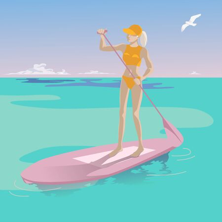 Young slender girl on a paddle with an oar on a background of blue sky and turquoise sea. Seagull and white clouds above the water. Happy woman lifestyle