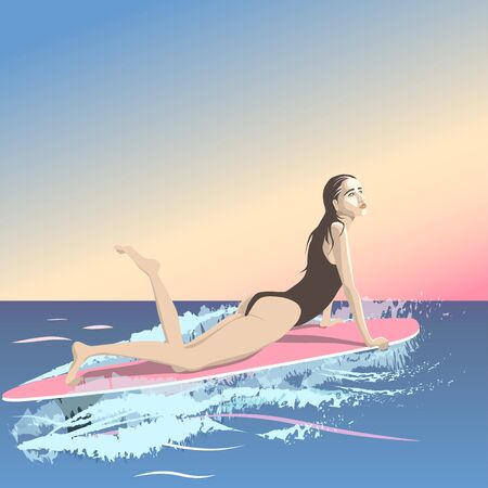 The girl is waiting for a wave lying on the surf in the rays of the sunset sunrise. Cartoon character in a flat style. Vector illustration Reklamní fotografie - 137762223