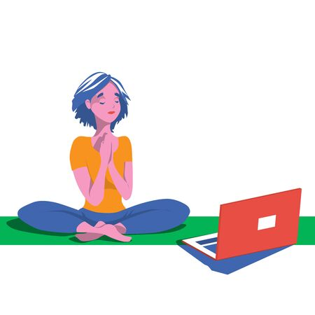 Yoga classes at home. Cute character girl goes in for sports remotely over the internet. A woman is watching a set of exercises online. Vector illustration