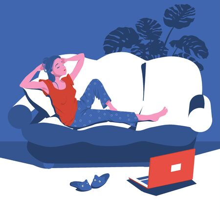 Girl is bored at home lying on the couch with a laptop. Classes remotely during quarantine. Character Vector Illustration