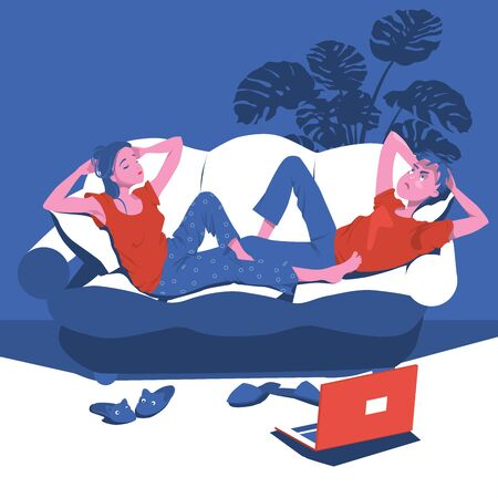 A young couple is bored at home on the couch. The included laptop on the floor next to the slippers. The concept of quarantine. Cartoon character vector illustration. Ilustracja