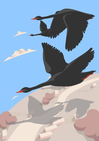A flock of black swans covers the world. This is a symbol of the collapse of the Forex stock market. Allegory, a sign of problems and failures in business. Vector illustration