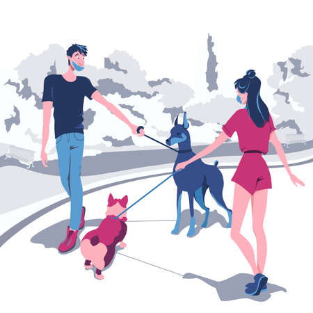 Young people meet and get acquainted with their pets while walking in the park. Walking masked people to protect themselves from the COVID-19 virus outdoors, cartoon character in flat design vector