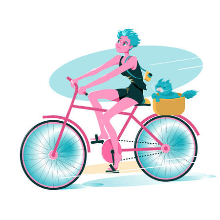 Young pretty Girl ride on bicycle with your pet cat in basket. Cartoon character Vector illustration