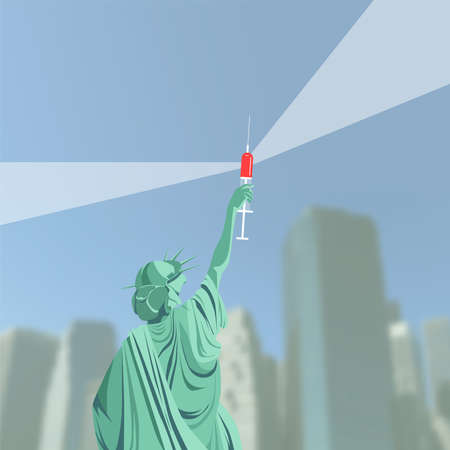 Creation of a vaccine against coronavirus in the USA. Victory over COVID-19. Statue of Liberty holds vaccine invented. Symbol concept vector illustration.
