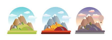 Landscape. Morning in the mountains. Vector flat illustrations