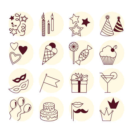 Vector set of holiday party attribute icons. EPS 10 Vector Illustration