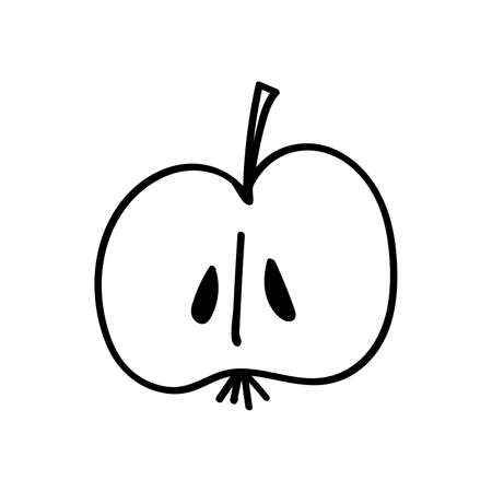 Black outline of half an Apple on a white background.  イラスト・ベクター素材